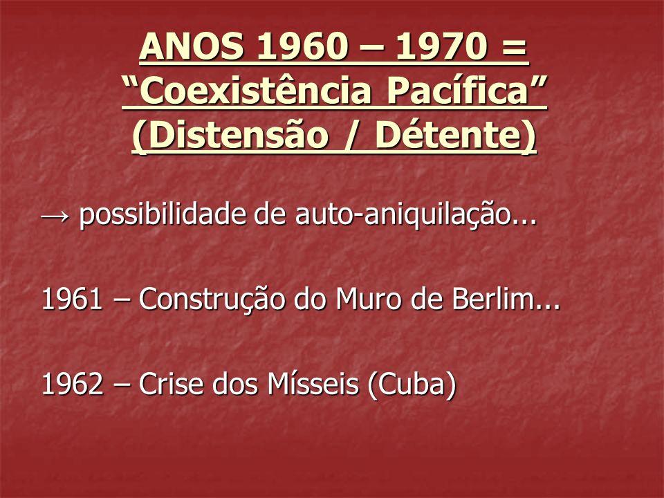 ANOS 1960 – 1970 = Coexistência Pacífica (Distensão / Détente)