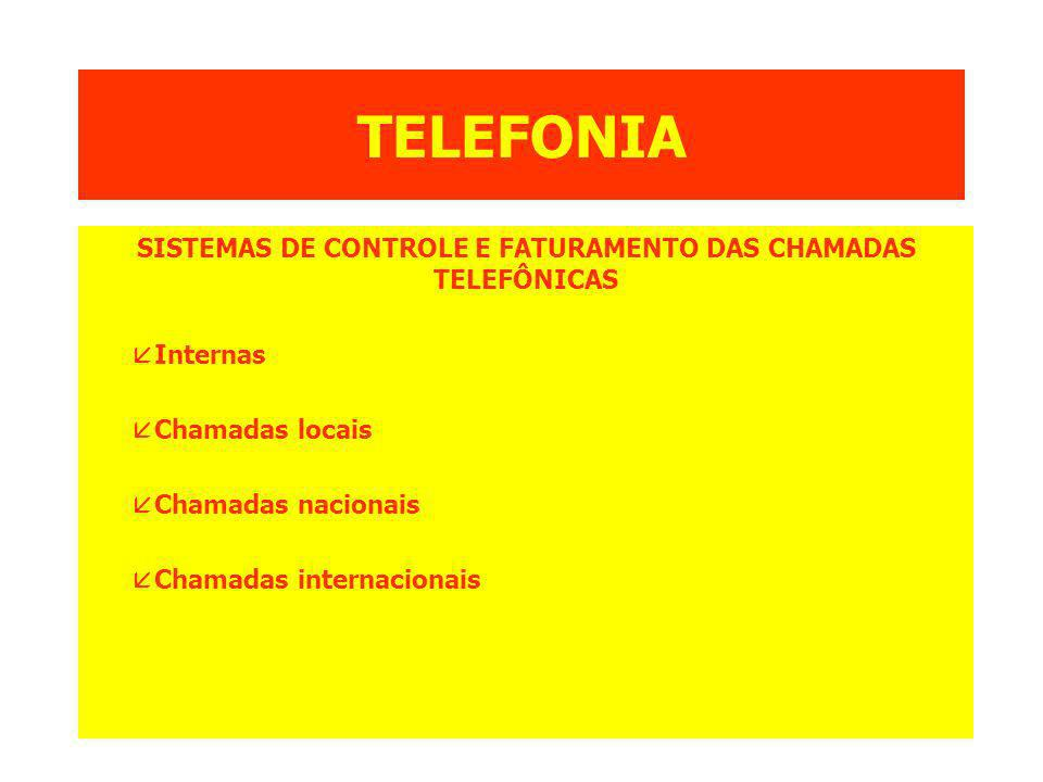 SISTEMAS DE CONTROLE E FATURAMENTO DAS CHAMADAS TELEFÔNICAS