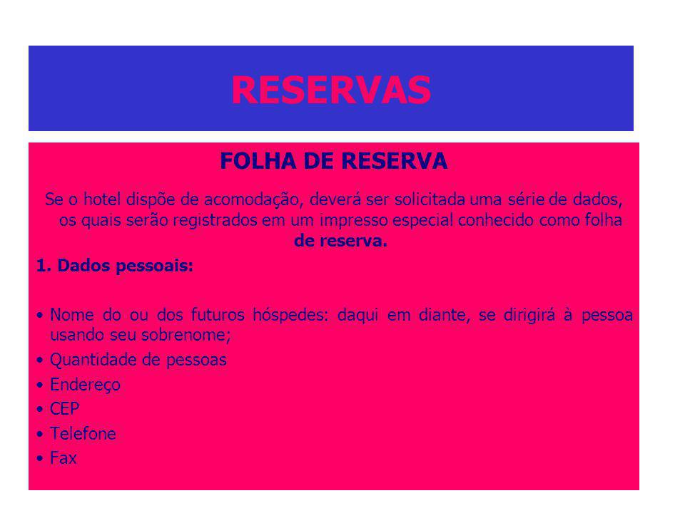 RESERVAS FOLHA DE RESERVA