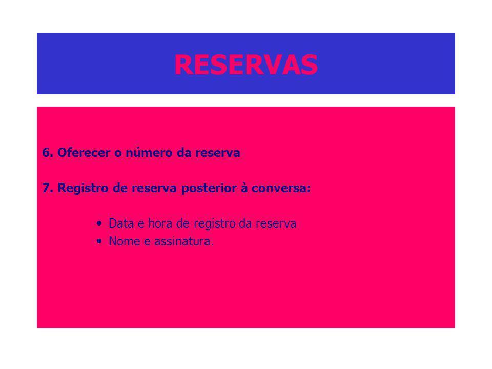 RESERVAS 6. Oferecer o número da reserva