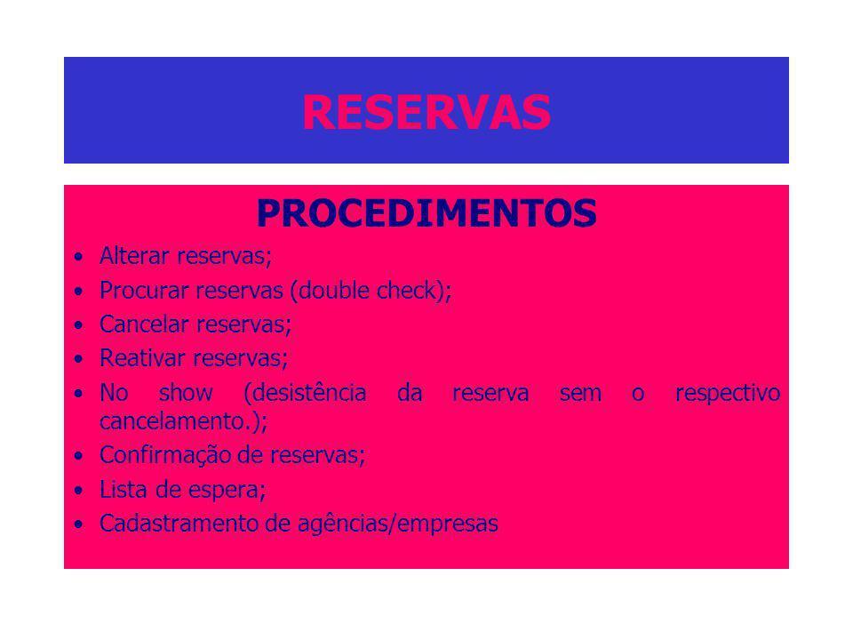 RESERVAS PROCEDIMENTOS Alterar reservas;