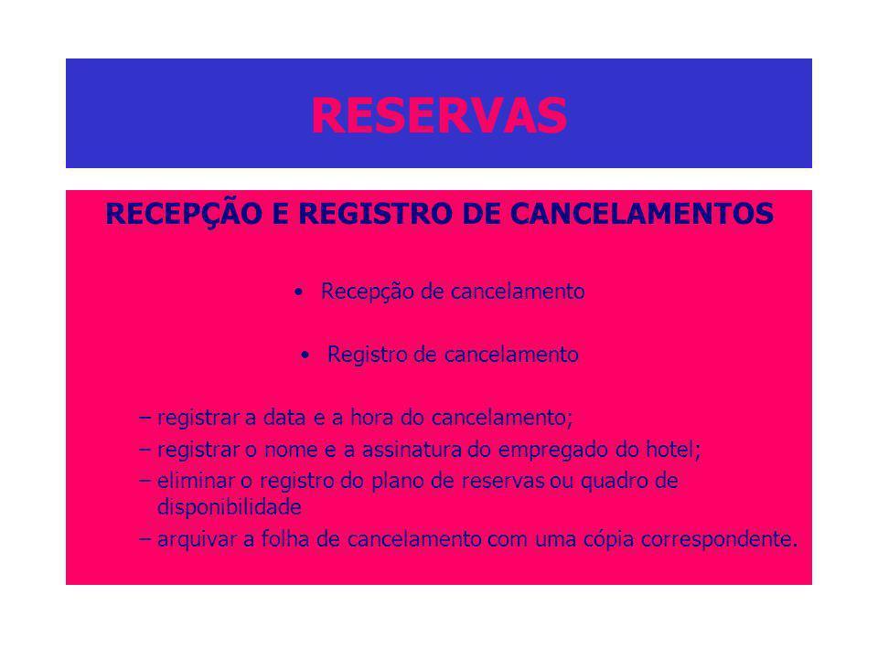 RECEPÇÃO E REGISTRO DE CANCELAMENTOS