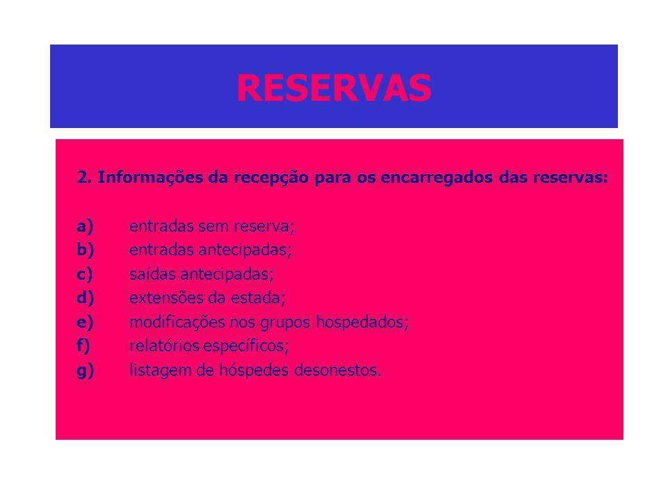 RESERVAS 2. Informações da recepção para os encarregados das reservas: