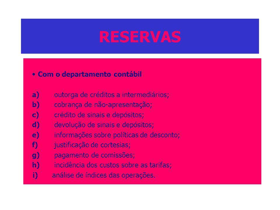 RESERVAS · Com o departamento contábil