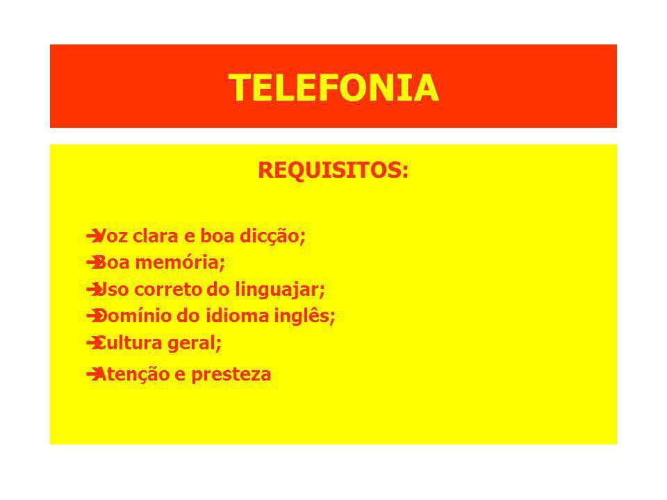 TELEFONIA REQUISITOS: Voz clara e boa dicção; Boa memória;