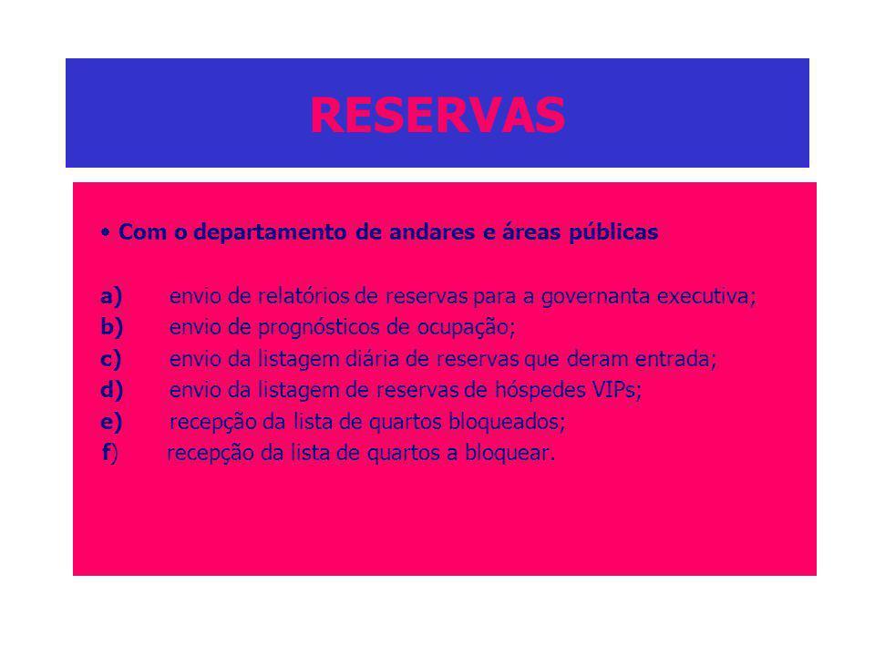 RESERVAS · Com o departamento de andares e áreas públicas