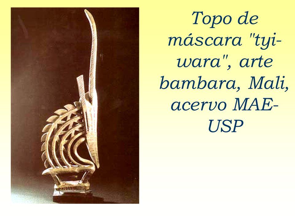 Topo de máscara tyi-wara , arte bambara, Mali, acervo MAE- USP