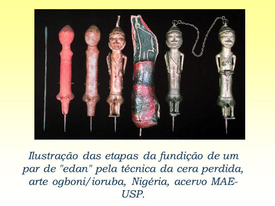 Ilustração das etapas da fundição de um par de edan pela técnica da cera perdida, arte ogboni/ioruba, Nigéria, acervo MAE-USP.