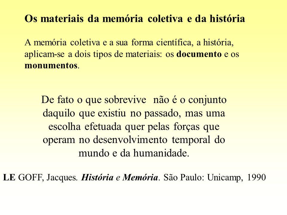 Os materiais da memória coletiva e da história A memória coletiva e a sua forma científica, a história, aplicam-se a dois tipos de materiais: os documento e os monumentos.