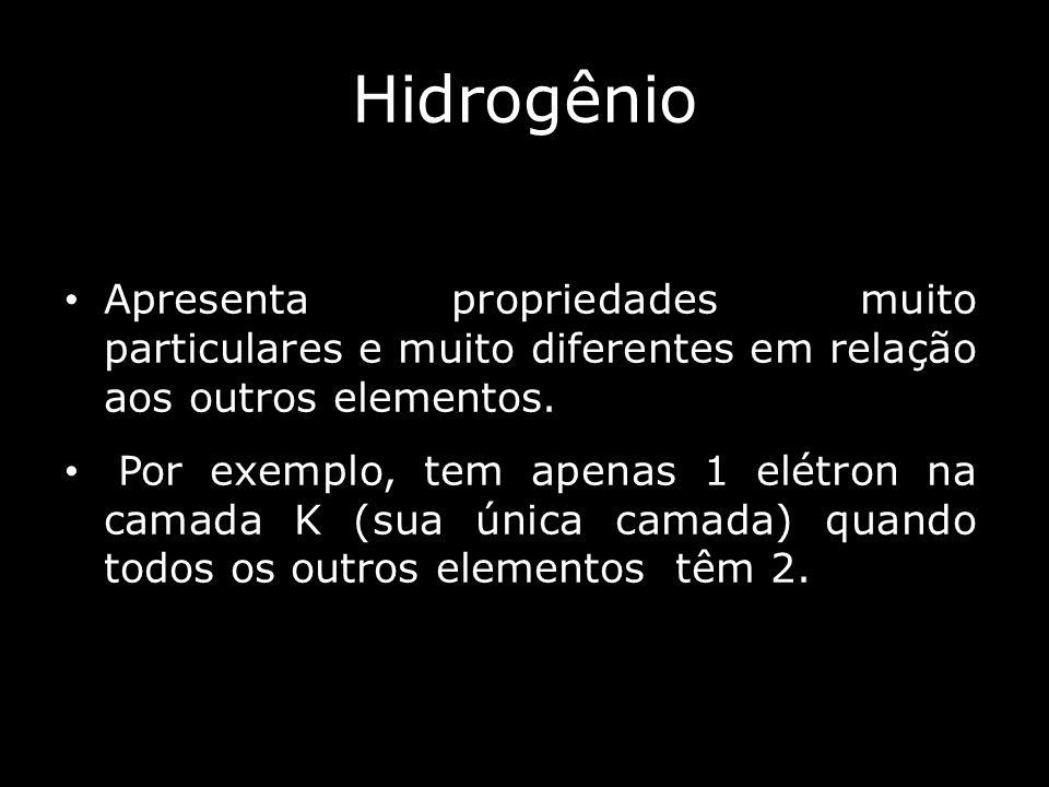 Hidrogênio Apresenta propriedades muito particulares e muito diferentes em relação aos outros elementos.