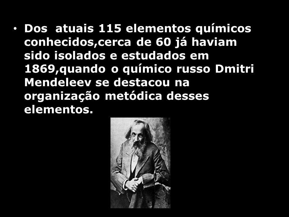 Dos atuais 115 elementos químicos conhecidos,cerca de 60 já haviam sido isolados e estudados em 1869,quando o químico russo Dmitri Mendeleev se destacou na organização metódica desses elementos.