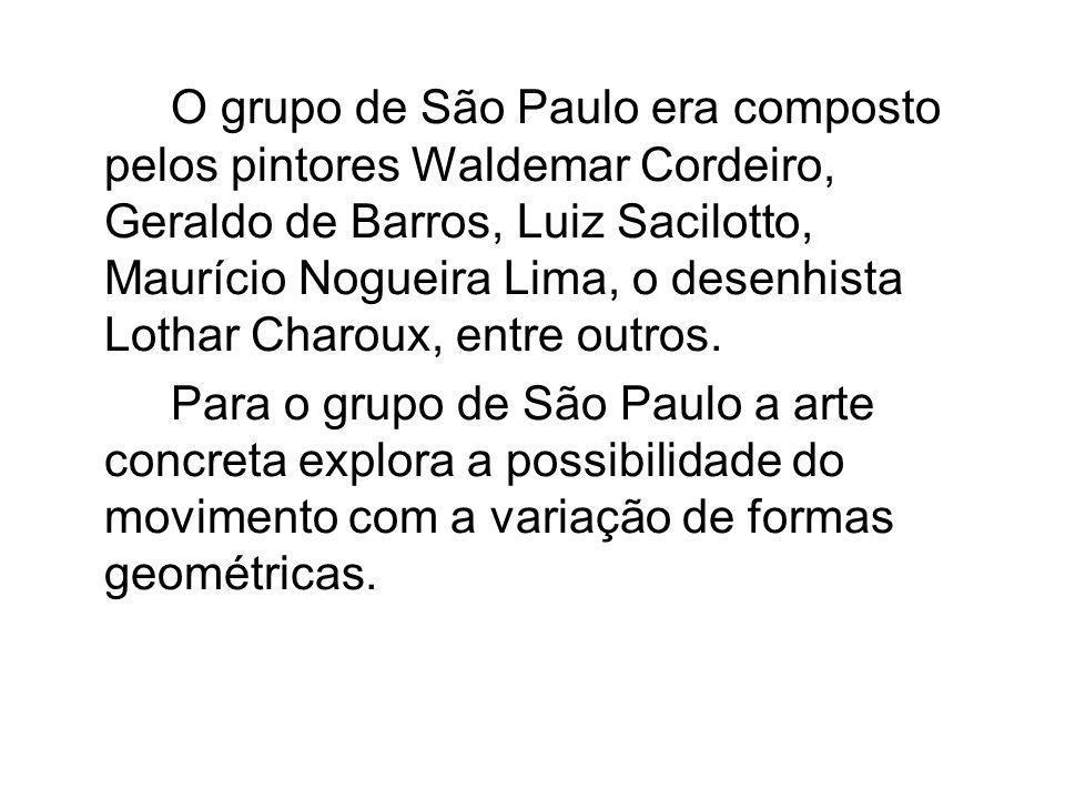 O grupo de São Paulo era composto pelos pintores Waldemar Cordeiro, Geraldo de Barros, Luiz Sacilotto, Maurício Nogueira Lima, o desenhista Lothar Charoux, entre outros.