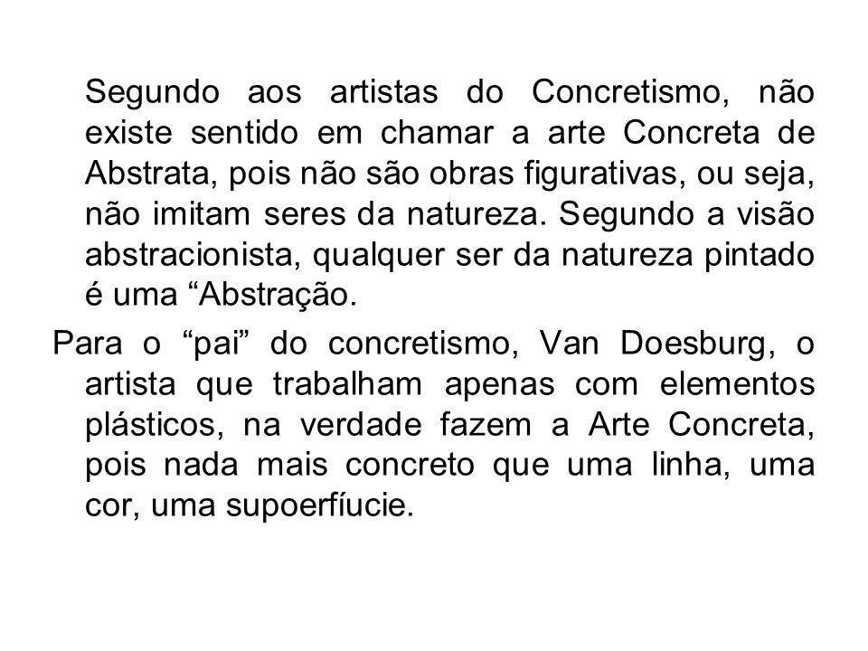 Segundo aos artistas do Concretismo, não existe sentido em chamar a arte Concreta de Abstrata, pois não são obras figurativas, ou seja, não imitam seres da natureza. Segundo a visão abstracionista, qualquer ser da natureza pintado é uma Abstração.