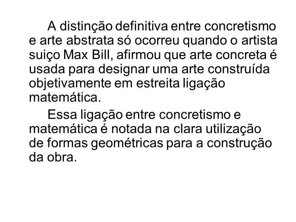 A distinção definitiva entre concretismo e arte abstrata só ocorreu quando o artista suiço Max Bill, afirmou que arte concreta é usada para designar uma arte construída objetivamente em estreita ligação matemática.