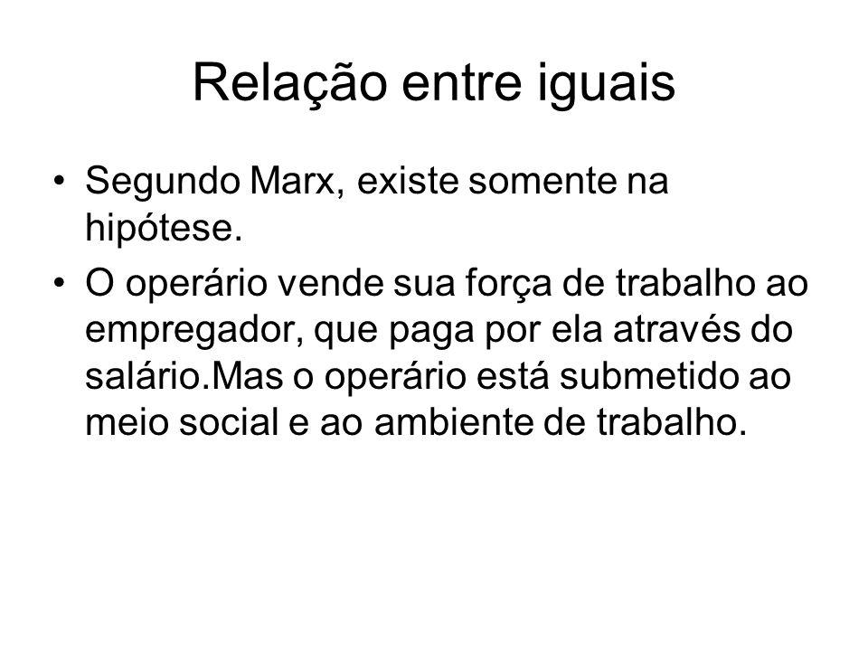 Relação entre iguais Segundo Marx, existe somente na hipótese.