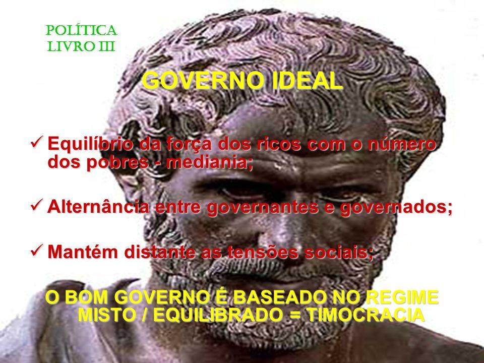 O BOM GOVERNO É BASEADO NO REGIME MISTO / EQUILIBRADO = TIMOCRACIA