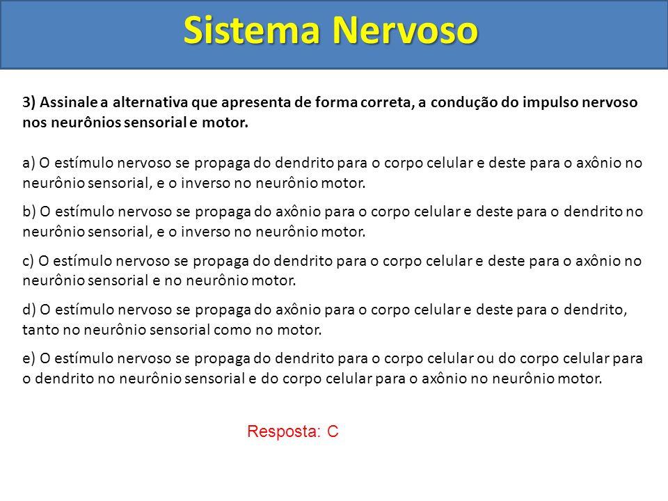 Sistema Nervoso 3) Assinale a alternativa que apresenta de forma correta, a condução do impulso nervoso nos neurônios sensorial e motor.