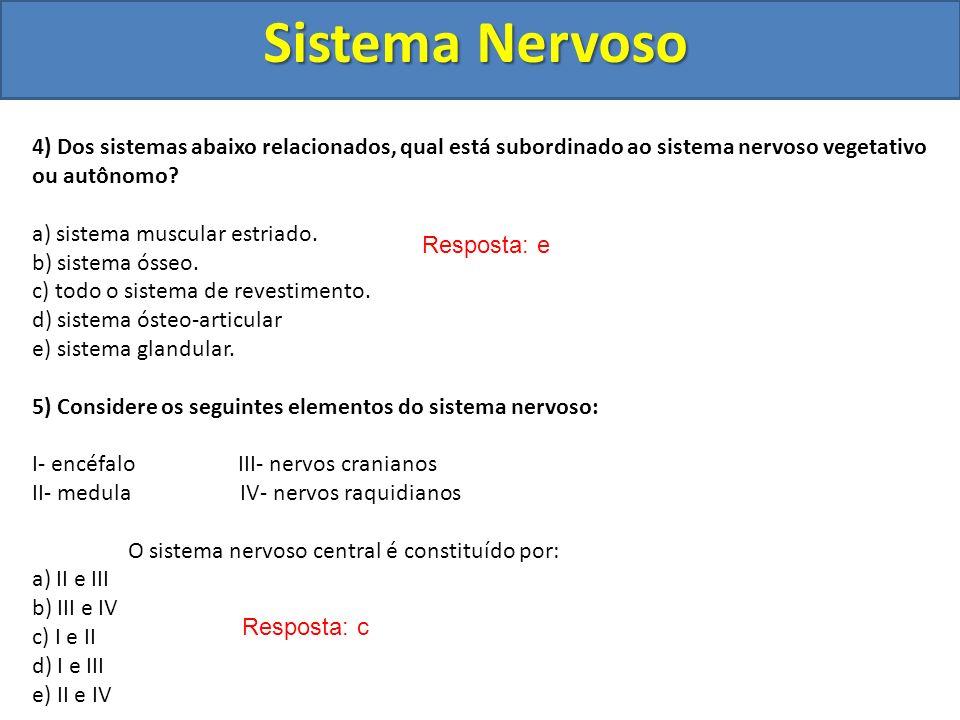 Sistema Nervoso 4) Dos sistemas abaixo relacionados, qual está subordinado ao sistema nervoso vegetativo ou autônomo
