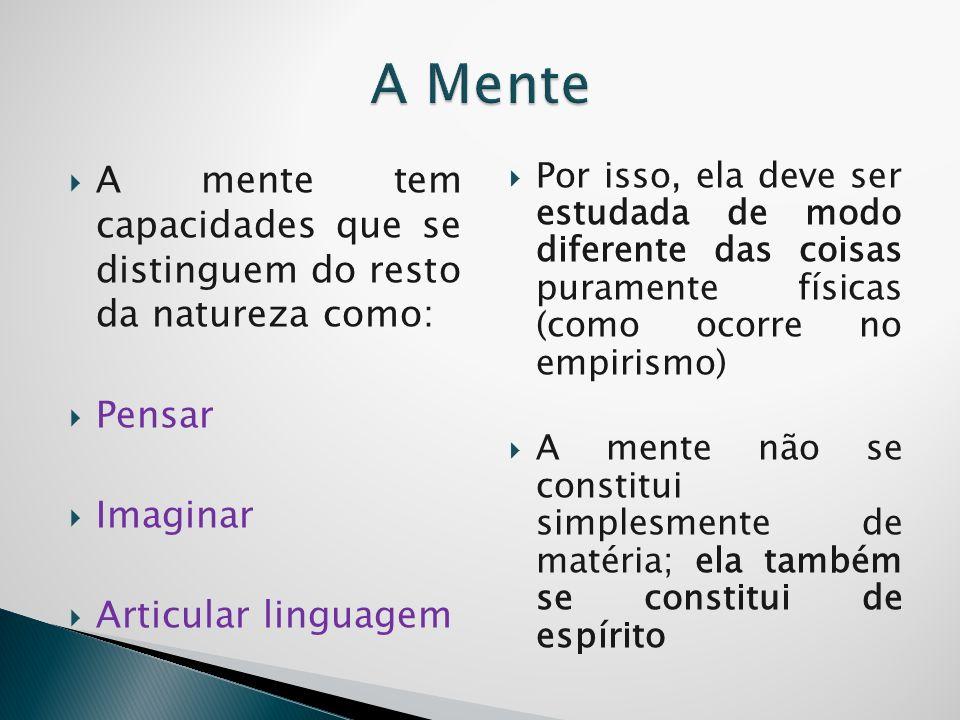 A MenteA mente tem capacidades que se distinguem do resto da natureza como: Pensar. Imaginar. Articular linguagem.