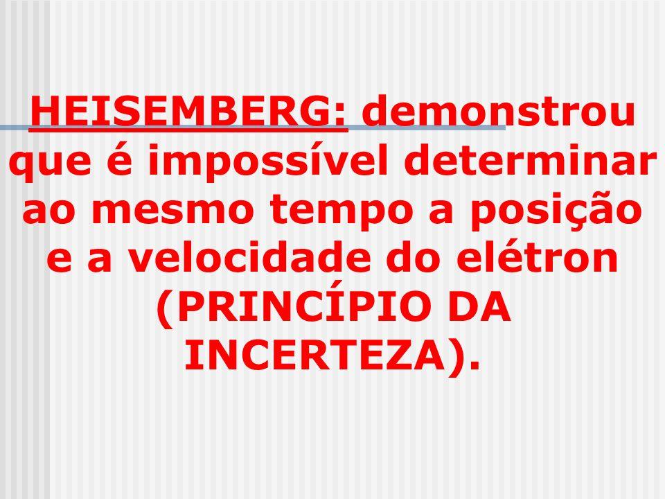 HEISEMBERG: demonstrou que é impossível determinar ao mesmo tempo a posição e a velocidade do elétron (PRINCÍPIO DA INCERTEZA).