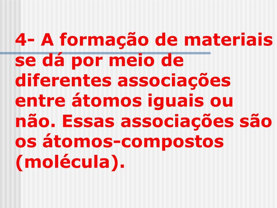 4- A formação de materiais se dá por meio de diferentes associações entre átomos iguais ou não.