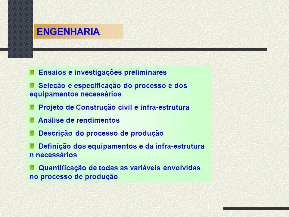 ENGENHARIA Ensaios e investigações preliminares