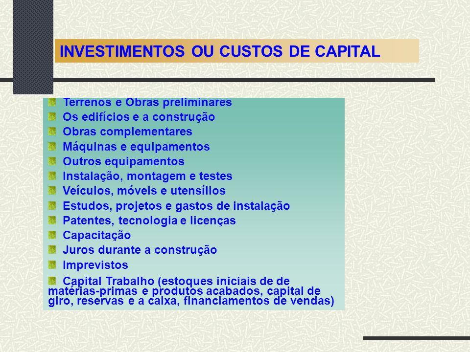 INVESTIMENTOS OU CUSTOS DE CAPITAL