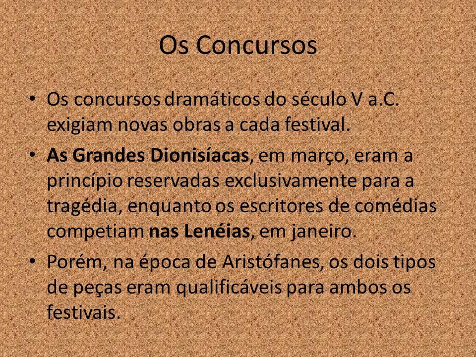 Os Concursos Os concursos dramáticos do século V a.C. exigiam novas obras a cada festival.