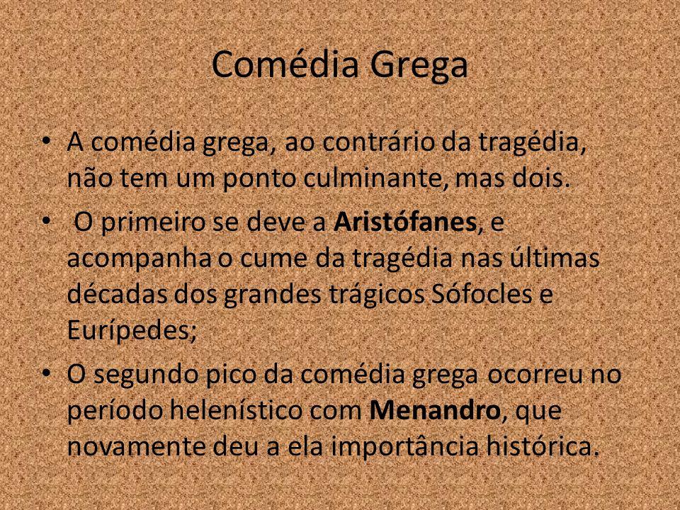 Comédia Grega A comédia grega, ao contrário da tragédia, não tem um ponto culminante, mas dois.