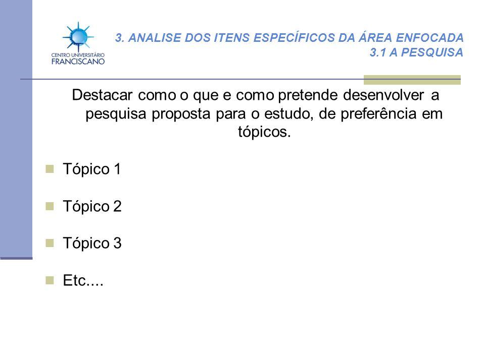 3. ANALISE DOS ITENS ESPECÍFICOS DA ÁREA ENFOCADA 3.1 A PESQUISA