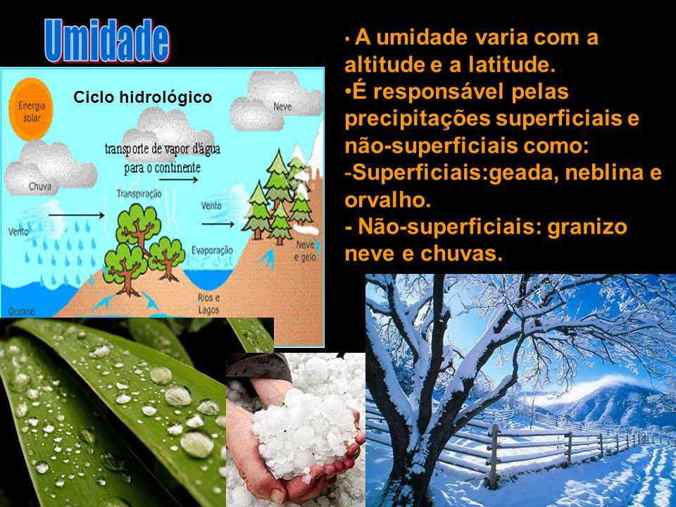 Umidade A umidade varia com a altitude e a latitude. É responsável pelas precipitações superficiais e não-superficiais como: