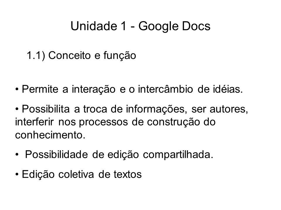 Unidade 1 - Google Docs 1.1) Conceito e função