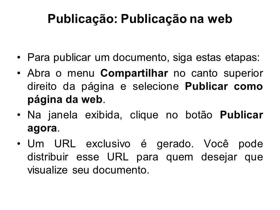 Publicação: Publicação na web