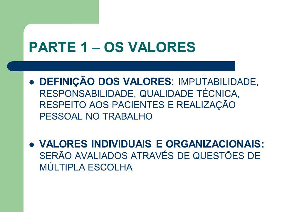 PARTE 1 – OS VALORES