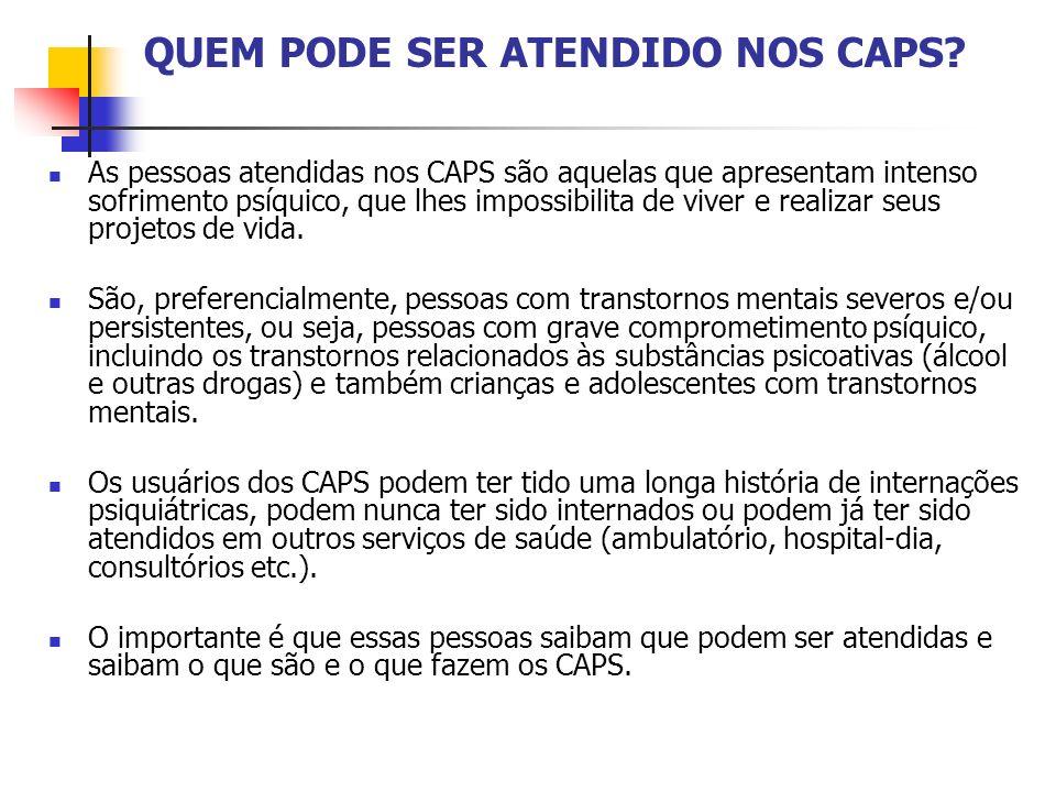 QUEM PODE SER ATENDIDO NOS CAPS