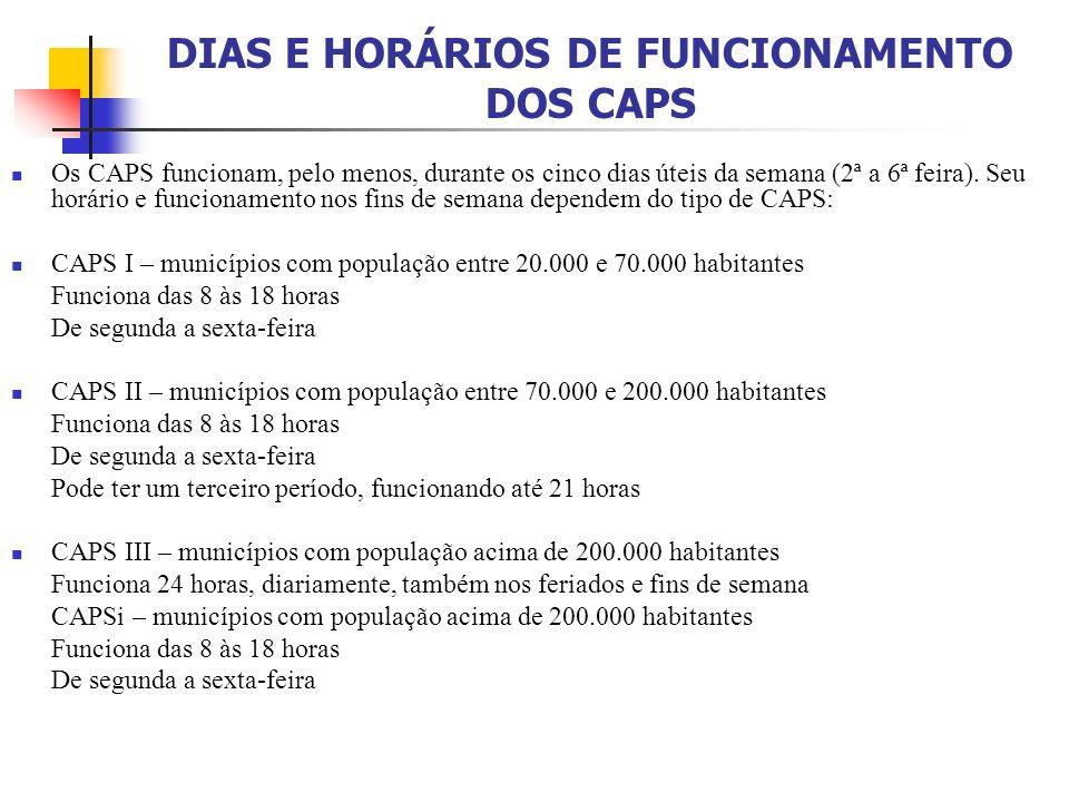 DIAS E HORÁRIOS DE FUNCIONAMENTO DOS CAPS