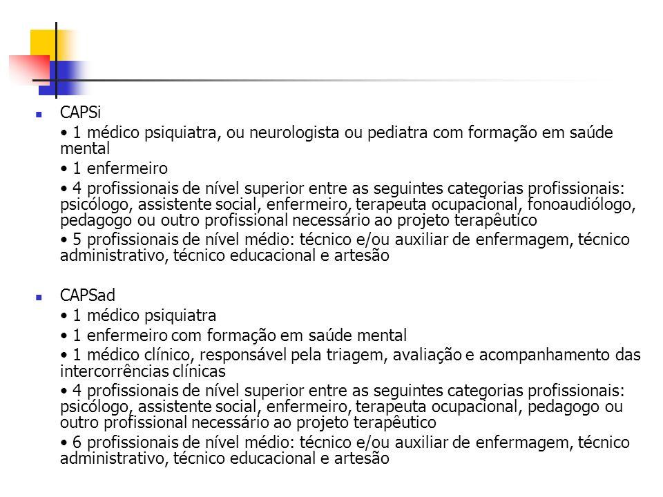 CAPSi• 1 médico psiquiatra, ou neurologista ou pediatra com formação em saúde mental. • 1 enfermeiro.