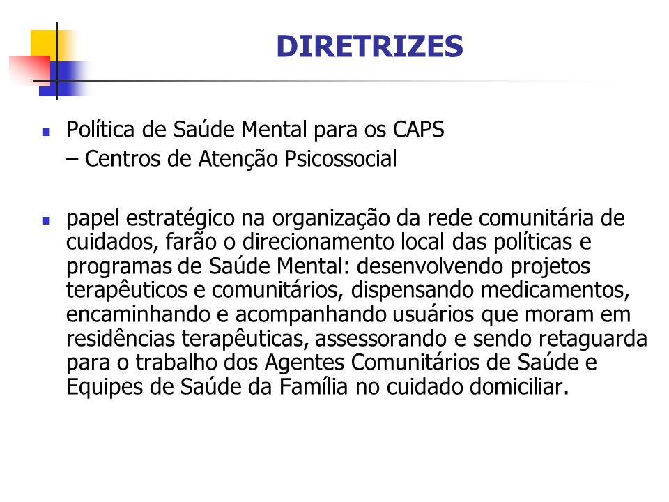 DIRETRIZES Política de Saúde Mental para os CAPS