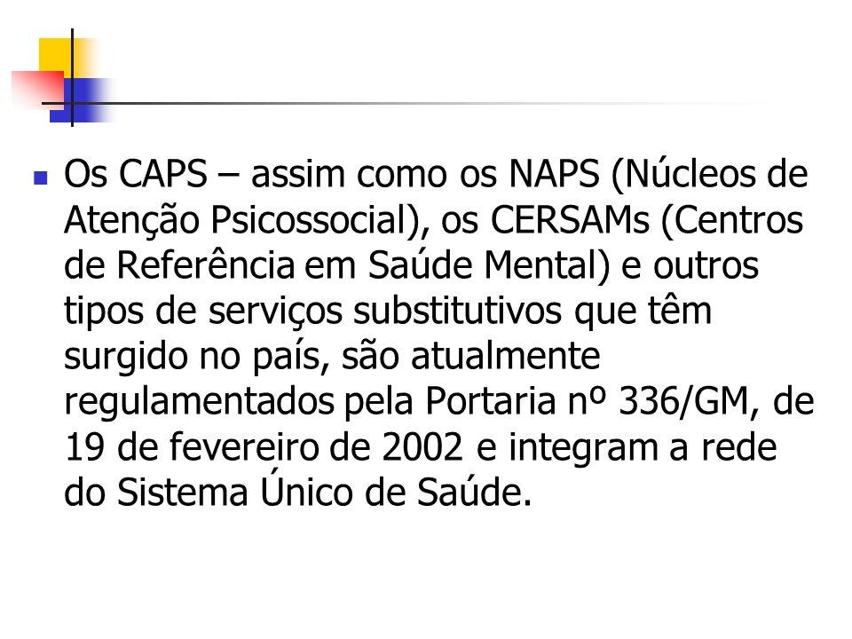 Os CAPS – assim como os NAPS (Núcleos de Atenção Psicossocial), os CERSAMs (Centros de Referência em Saúde Mental) e outros tipos de serviços substitutivos que têm surgido no país, são atualmente regulamentados pela Portaria nº 336/GM, de 19 de fevereiro de 2002 e integram a rede do Sistema Único de Saúde.