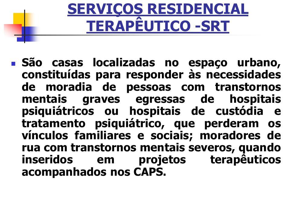 SERVIÇOS RESIDENCIAL TERAPÊUTICO -SRT