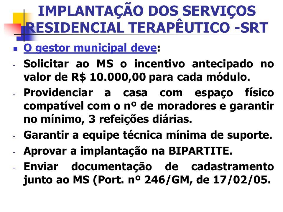 IMPLANTAÇÃO DOS SERVIÇOS RESIDENCIAL TERAPÊUTICO -SRT