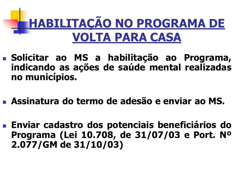 HABILITAÇÃO NO PROGRAMA DE VOLTA PARA CASA