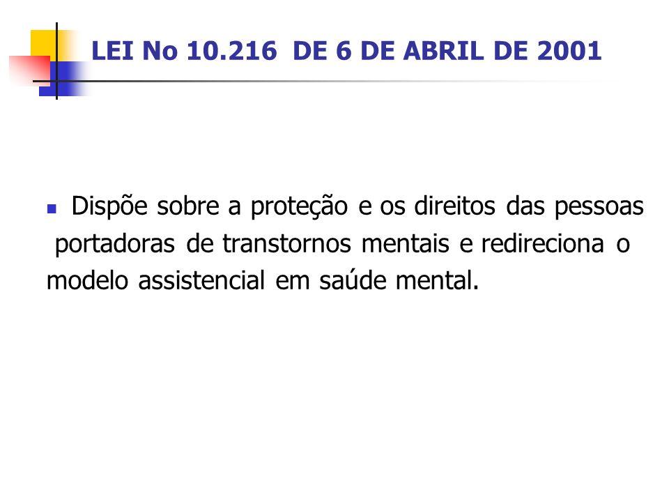 LEI No 10.216 DE 6 DE ABRIL DE 2001 Dispõe sobre a proteção e os direitos das pessoas. portadoras de transtornos mentais e redireciona o.