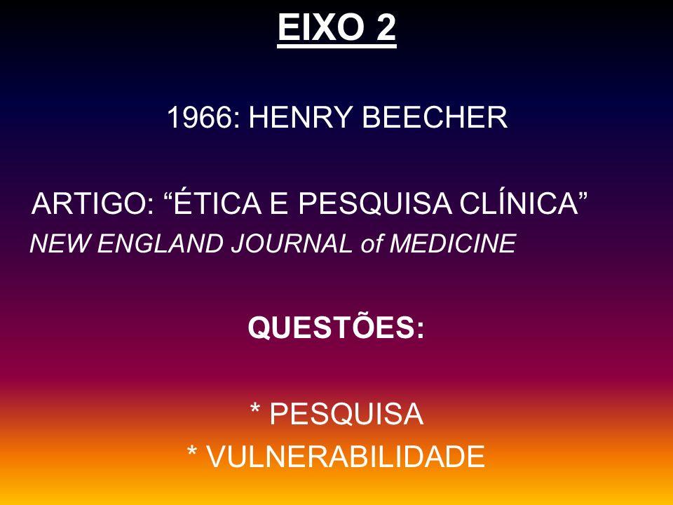 EIXO 2 1966: HENRY BEECHER ARTIGO: ÉTICA E PESQUISA CLÍNICA