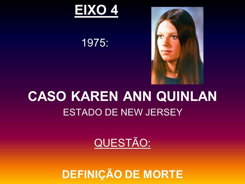 EIXO 4 CASO KAREN ANN QUINLAN 1975: QUESTÃO: DEFINIÇÃO DE MORTE