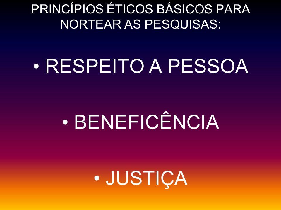 PRINCÍPIOS ÉTICOS BÁSICOS PARA NORTEAR AS PESQUISAS: