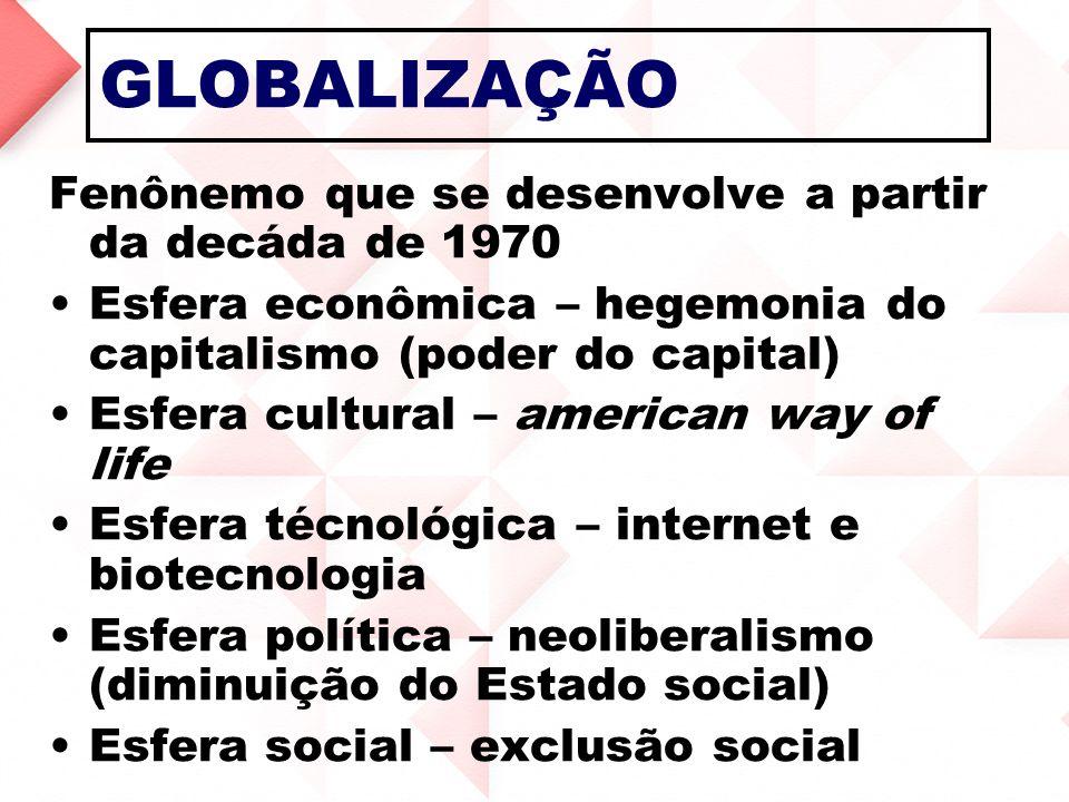 GLOBALIZAÇÃO Fenônemo que se desenvolve a partir da decáda de 1970