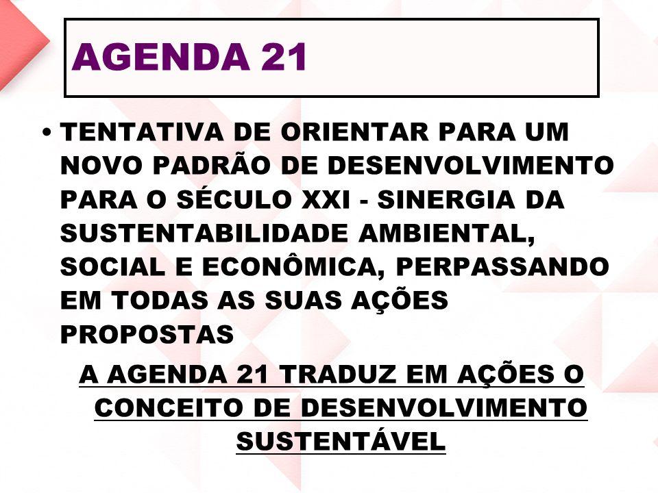 A AGENDA 21 TRADUZ EM AÇÕES O CONCEITO DE DESENVOLVIMENTO SUSTENTÁVEL