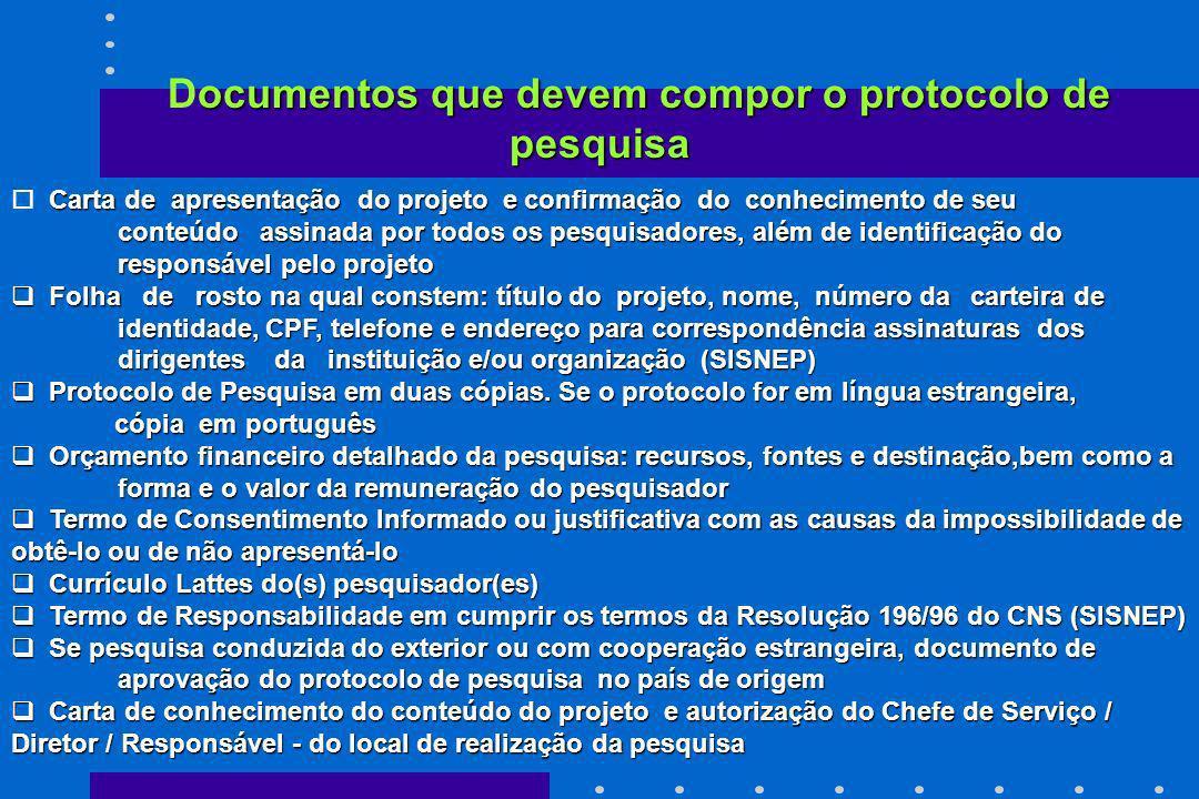 Documentos que devem compor o protocolo de pesquisa