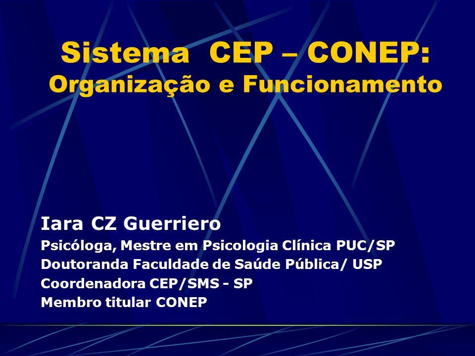 Sistema CEP – CONEP: Organização e Funcionamento